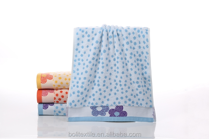 yiwu boli textile home use flower theme 100% cotton jacquard face towel China factory supplier