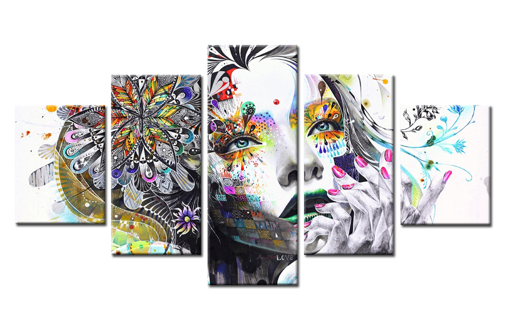 Best-Sale-Tatto-Flower-Girl-Pretty-Graffiti-Canvas-Painting-Color-Fashion-Gift-Wall-Art-for-Home