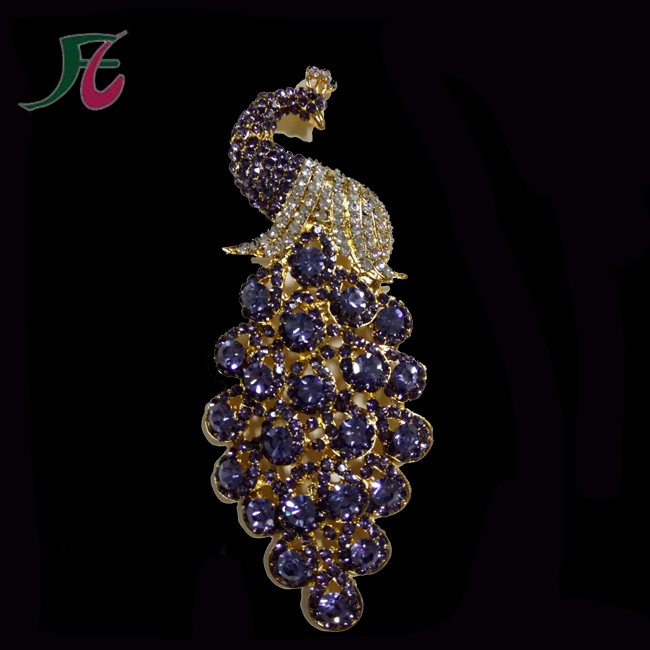 Alloy Bulk Rhinestone Main Stone Peacock Shape Safety Pin Brooch