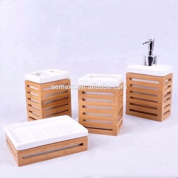 Wholesale Simply Bath Accessory Ceramic Bamboo Bathroom Set