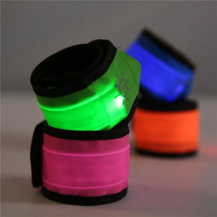 LED Slap Armband Lights Glow Band for Running, Replaceable Battery 4 Modes (Always bright/Quick Flashing/Slow Flashing/Off)