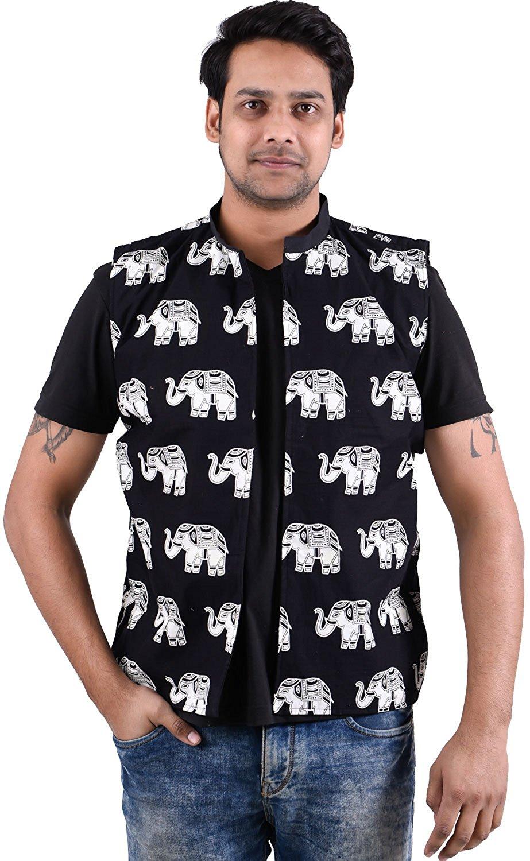 61d2f7b7dde3d Get Quotations · Lakkar Haveli Indian 100% Cotton Jacket Men Blue Color  Outwear Ethnic Coat Oversize Plus Size