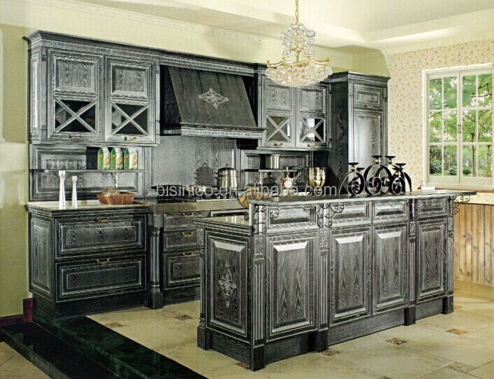 Luxury solid wood carved kitchen cabinet with gold for Carved kitchen cabinets
