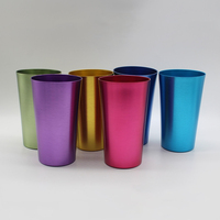 16oz ALUMINUM TUMBLERS Retro Jewel Aluminum Colored Tumblers Cups Set of 6 Multicolor,Vintage Style Colored Metal Cups BPA FREE