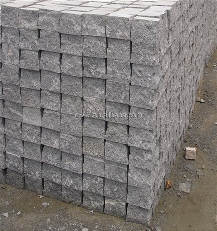 cube stone paving /grey granite landscaping paving cube/cobble stone