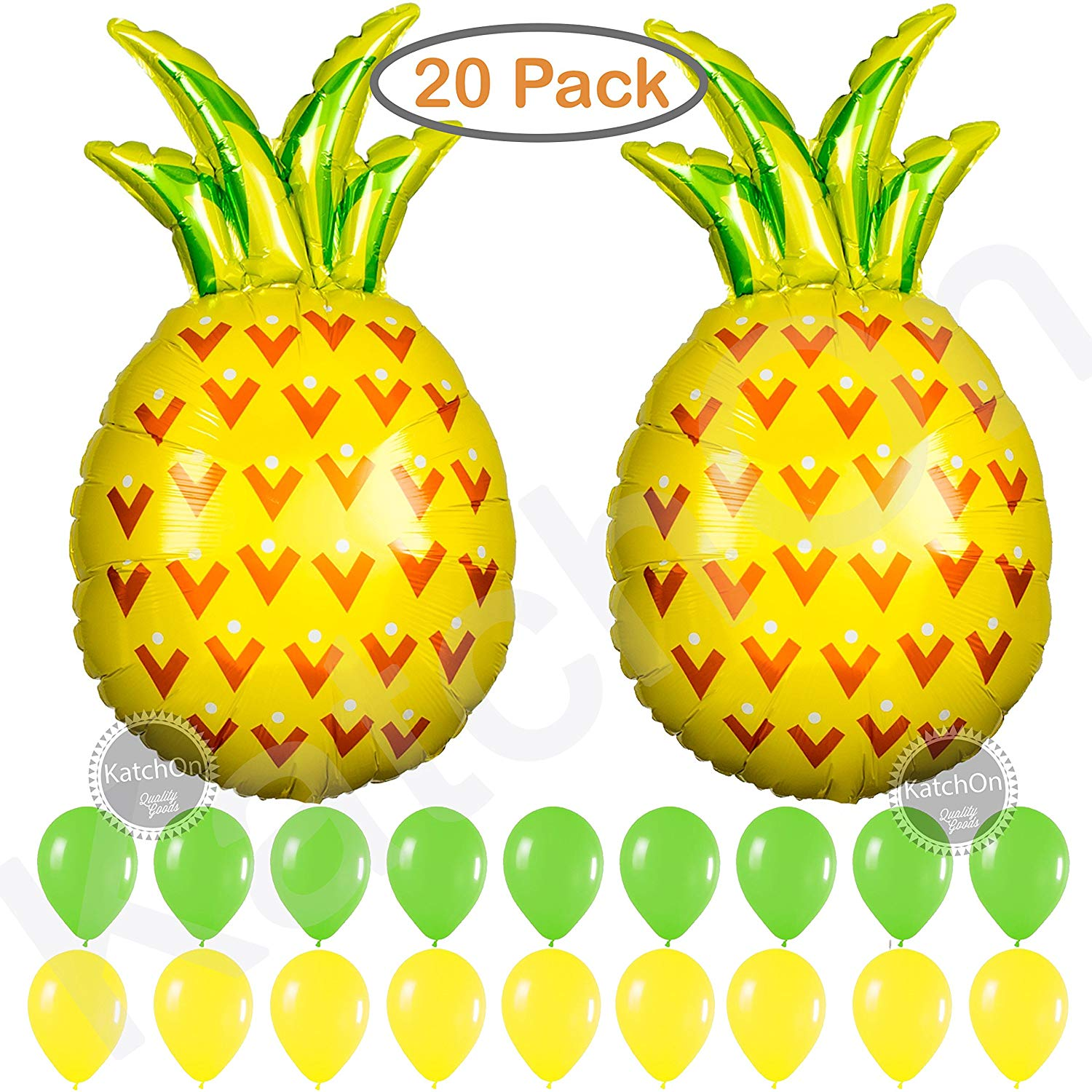 Pineapple Balloons Party Decorations Supplies - Pack of 20 - 2 Giant Helium Pineapple Balloons   9 Green 9 Yellow Latex Balloon   Pineapple Decor   Pineapple Party Decorations   Luau Party Supplies