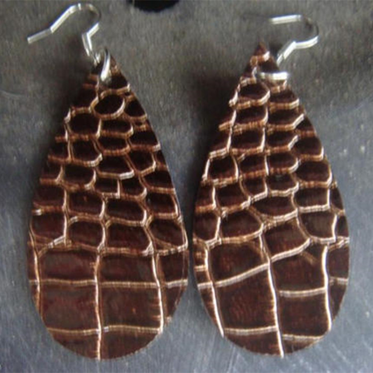 Teardrop Leather Boho Earrings Vegan Brown Leather Earrings Minimalist Jewelry