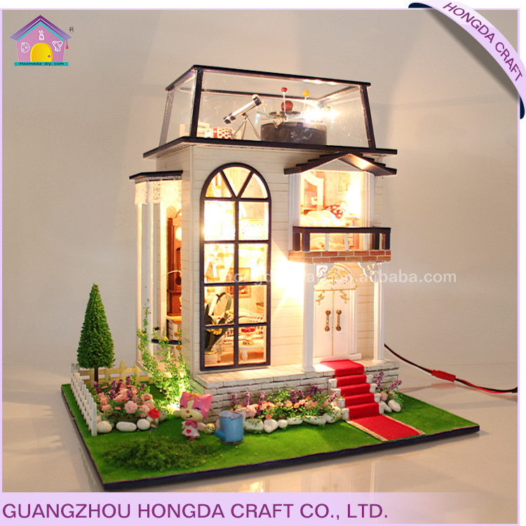 Hottest big toy house for kids,1:24 miniature dollhouse diy kit kids toys