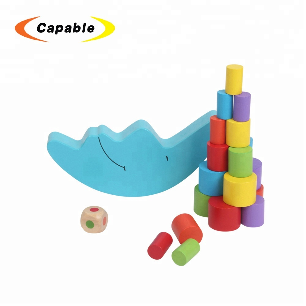 Educational moon block wooden balance game toy for kids
