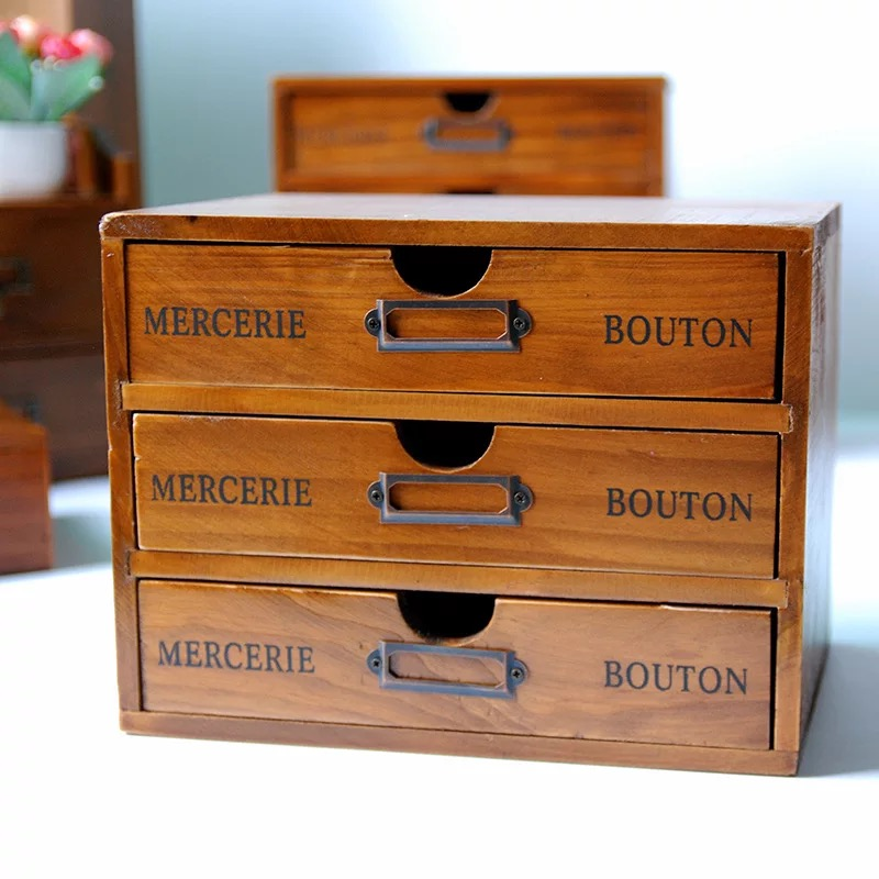 Furniture of solid wood rustic solid wood three drawer storage box cabinet wood