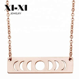 Fashionable Goddess Jewelry Simple Hollow Moon Phase Bar Necklace