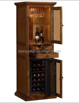 Natural Wood Grain Wine Cooler Cabinet