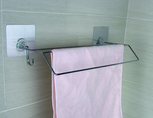 Removable towel bar and self-adhesive bathroom accessory towel rack