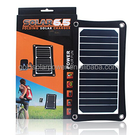 cheap solar mobile phone charger 6.5W for 5V devices, powerbank, iphone etc