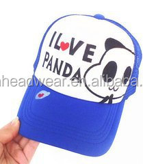 "5 Panel Blue Mesh Trucker Cap With Custom Printed logo""I love panda"""