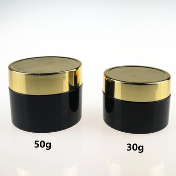 15g 30g 50g black PETG empty face cream container cosmetic face cream jars with gold lid