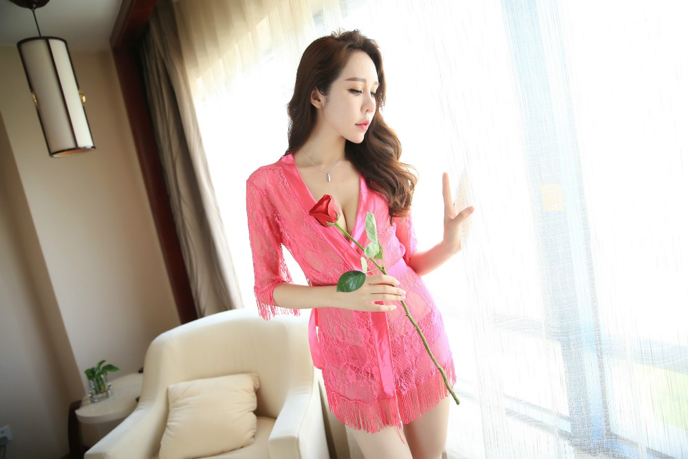 Sexy Fille Kimono Style Pink Lace Transparent Tassel Robes Made In China