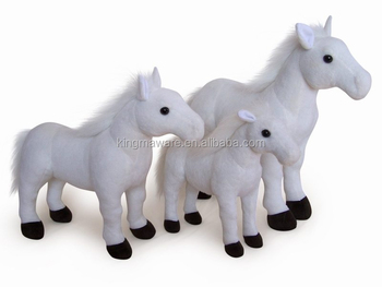 Realistic Plush Horse Toy Stuffed Standing White Horse Plush Toy