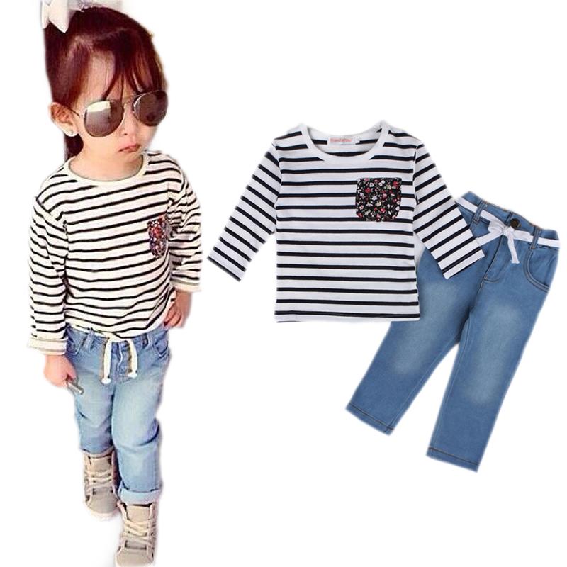 haoricu Girls Clothes Toddler Baby Autumn Long Sleeve T-Shirt Tops+Jeans Short Pants Kids Clothes Set