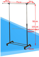 Factory floor standing metal and plastic cloth rack, new design clothes display rack