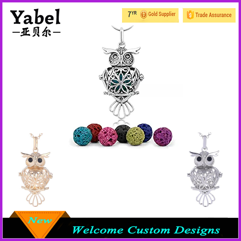 Factory wholesale owl lava stone aromatherapy essential oil diffuser locket pendant necklace