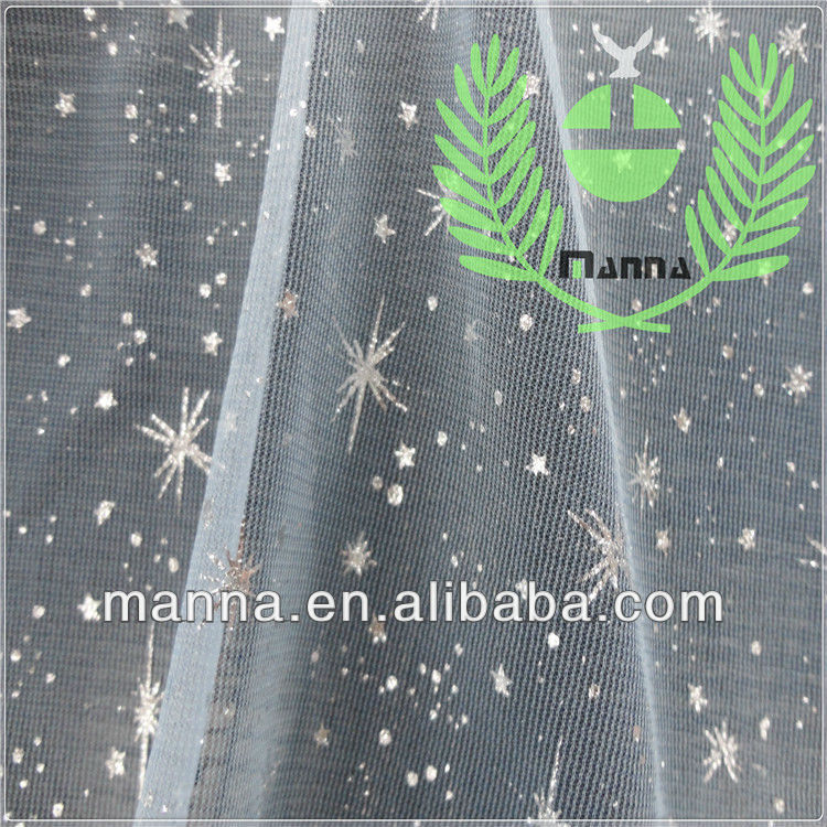 Silver star glitter net mesh fabric for christmas clothing
