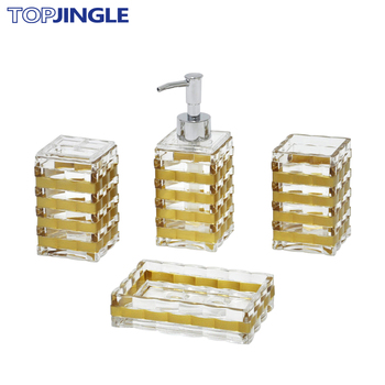 Striped Design Clear And Gold Coloured Bathroom Accessories