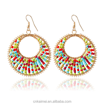 2018 wholesale fashion jewelry Bohemian style retro exaggerated colored round pendant seed bead dangle earrings women