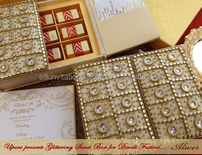 Wedding Invitation Box With Stunning Hand Embroidery Buy Luxurious Wedding Invitation Card Embroidered Invitation Card Muslim Wedding Invitation