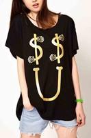 custom t shirt dollars and u bronzing print black