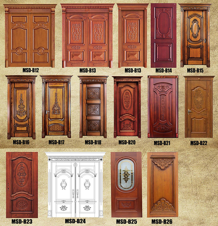 Art deco style pdf solid wood entry door buy pdf wood for Wooden single door design for home