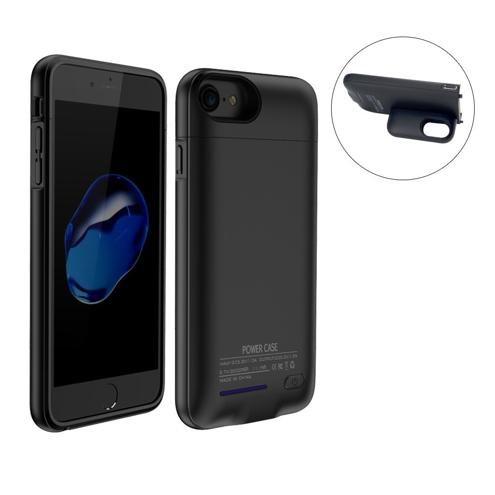 """3000Mah Battery Charger Case For Both iPhone7and iPhone 6(S) 4.7"""" Battery Case Rechargeable Backup Battery Power bank Charger Case,Magnet bracket (Black 4.7"""" iPhone 7 / 6 /6S)"""