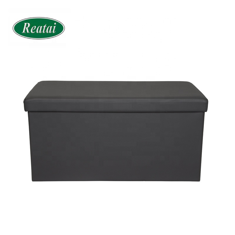 Reatai hot sale beige antique folded leather bench for locker room ottoman storage bench