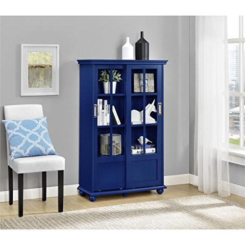 2 Sliding Glass Doors with 4 Adjustable Shelves | Altra Aaron Lane Navy Bookcase with Sliding Glass Doors - Blue Finish