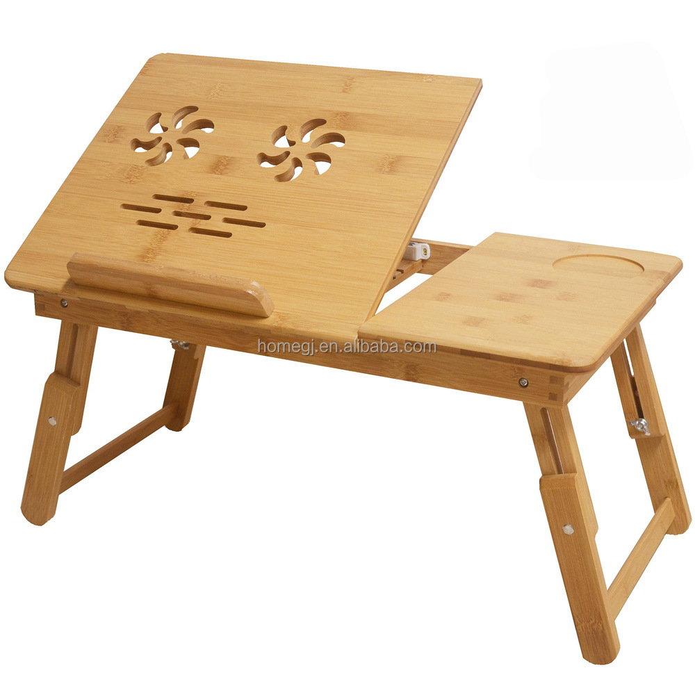 Morden fice home Mini Bamboo Table With Height Adjustable Laptop