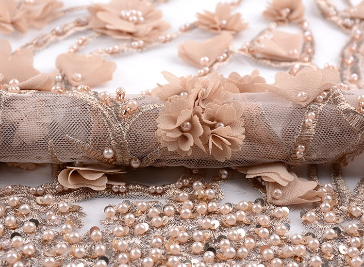 Luxury gold 3d embroidered beaded dress lace fabric for party