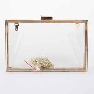 New design crossbody purse bag transparent clear box clutch acrylic evening bag for women