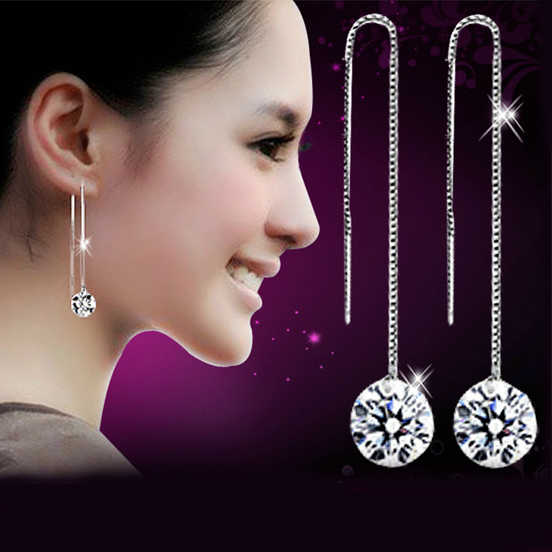 Nice! Platinum plated 8mm Cubic Zircon Crystal Gracious Long Line Drop <strong>Earrings</strong>