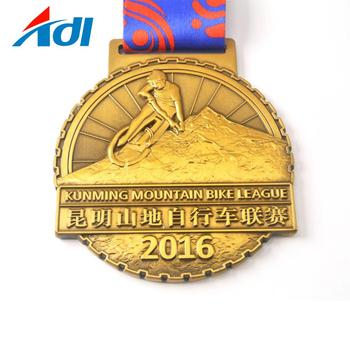 Cheap custom mountain bike medal with sublimation ribbon