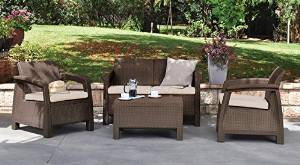 Keter Cushioned Patio Set With 2 Wicker Chairs, Loveseat, Cushion and a Rattan table, 4-Piece, Brown