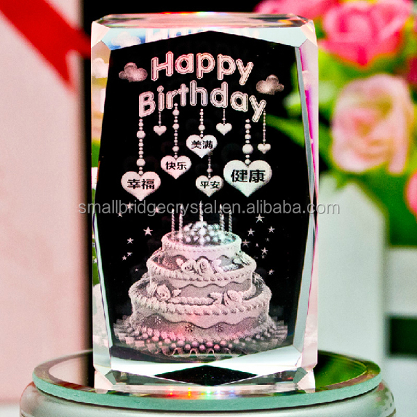 Hot Sale Happy Birthday Cake 3d Laser Photo Cube Crystal Cube Buy
