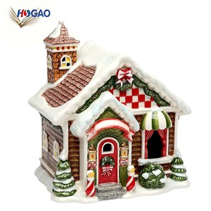 China supplier home decor OEM resin miniature lights led christmas village houses