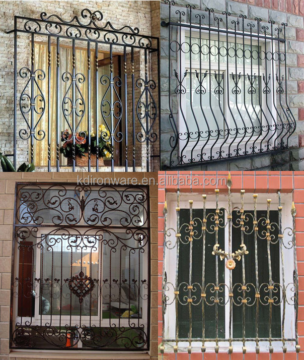 Home wrought iron window grill designs color buy window for Iron window design house