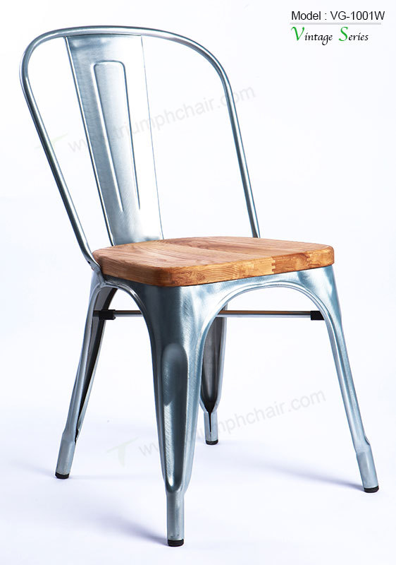 Triumph Vintage Industrial Metal Chair Dining Wood Restaurant Furniture