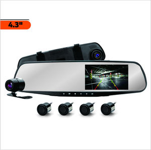 SUNWAYI O6M-V Dual Record Mirror Dash Camera Universal HD 1080P Parking Sensor DVR 4.3 inch TFT Black Box for Wholesale