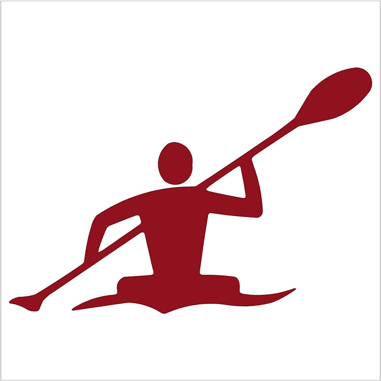 """Kayaker Paddle Kayak Canoe Decal (6"""" decal, Dark Red)"""