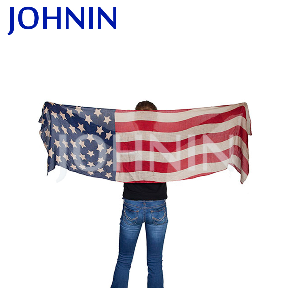 Fashionable High Quality Knitted Five Stars Striped American Flag Scarve