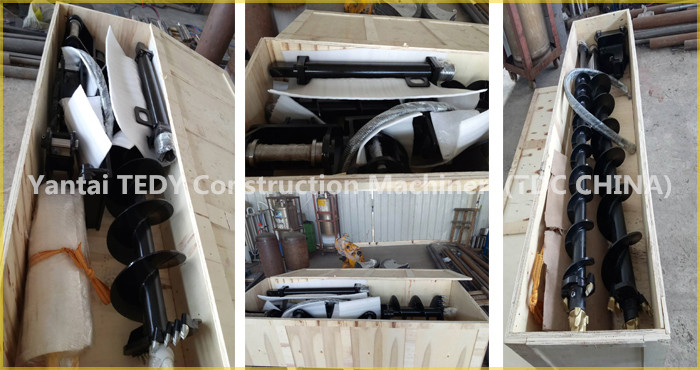 Excavator, crane and tractor mounted hydraulic earth auger with EATON drive