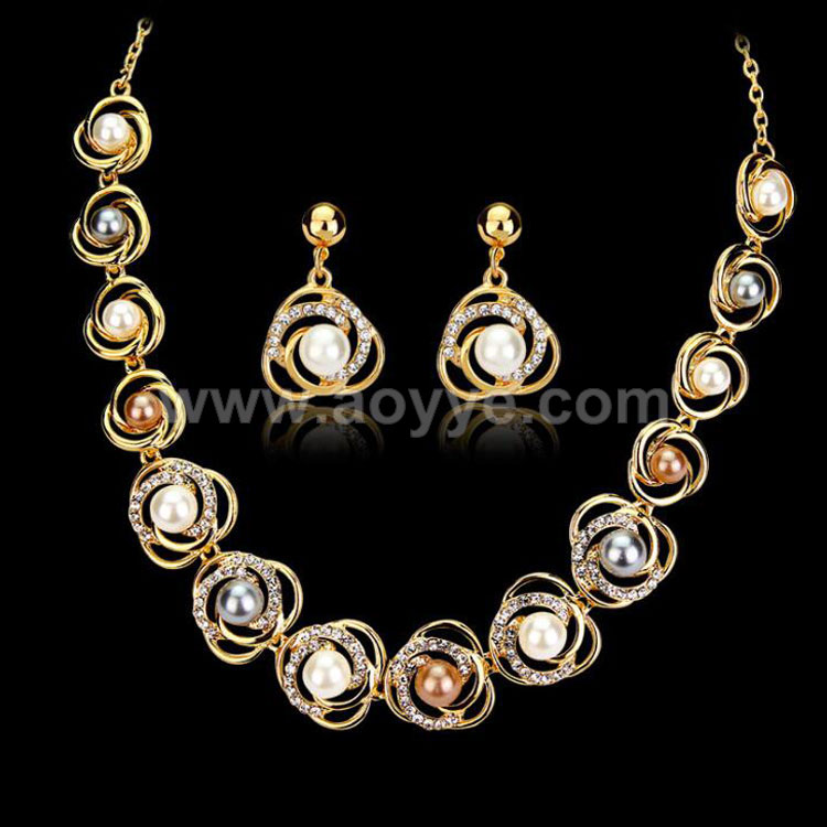 Hot selling elegant women fashion accessories 18 K Saturn ring alloy pearl jewelry set