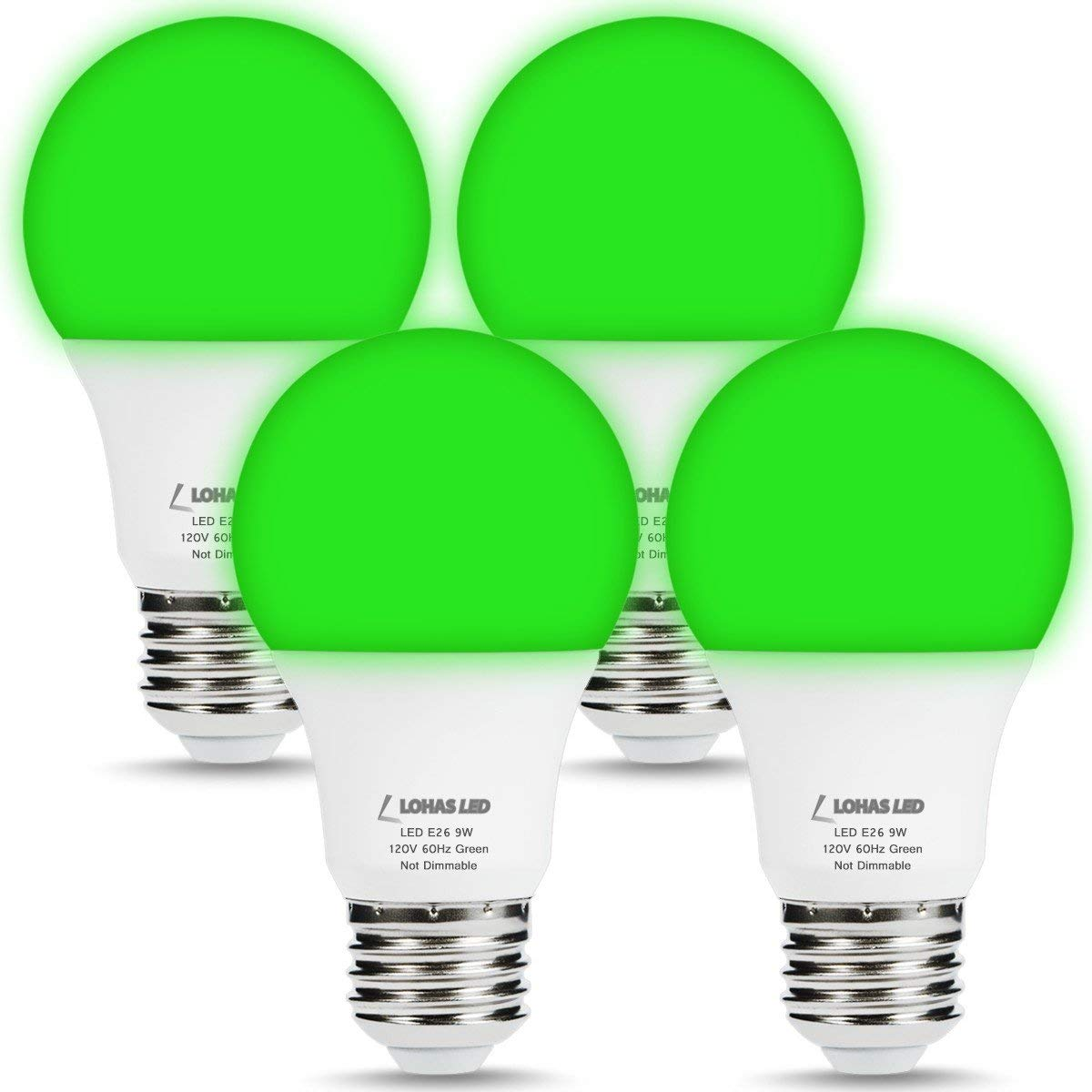 LOHAS Green Light Bulb, 60Watt Light Bulb Equivalent, A19 LED Bulb (9W), E26 Base LED, 810LM, 240 Degree Beam Angle, Non Dimmable for Decorative Lighting, 4 Pack